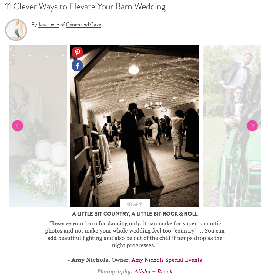Press: Barn Weddings Tips Feature on Martha Stewart Weddings