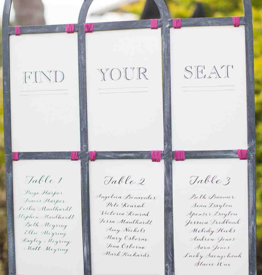 Press: Calligraphy Seating Chart Feature on Martha Stewart Weddings