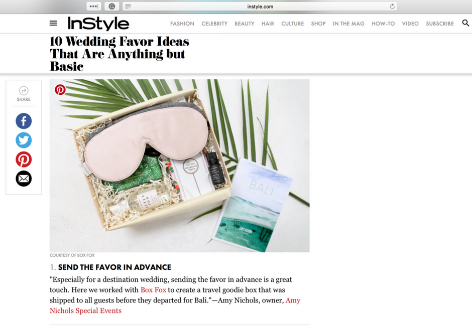 Press: Wedding Favor Ideas Feature on InStyle Magazine