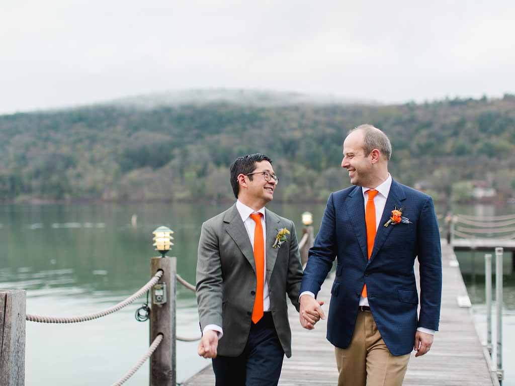 Press: The Grooms Wore British-Tailored Bespoke Suits to Their Wedding in Cooperstown